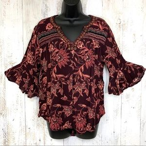 Democracy Floral Bell Sleeves Blouse. Medium